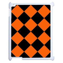 Harlequin Diamond Orange Black Apple Ipad 2 Case (white) by CrypticFragmentsColors