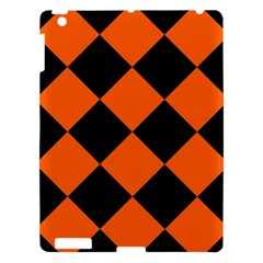 Harlequin Diamond Orange Black Apple Ipad 3/4 Hardshell Case by CrypticFragmentsColors
