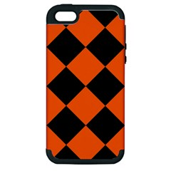 Harlequin Diamond Orange Black Apple Iphone 5 Hardshell Case (pc+silicone) by CrypticFragmentsColors