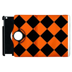 Harlequin Diamond Orange Black Apple Ipad 2 Flip 360 Case by CrypticFragmentsColors