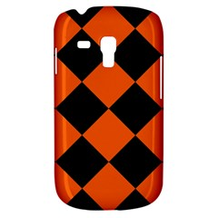 Harlequin Diamond Orange Black Samsung Galaxy S3 Mini I8190 Hardshell Case by CrypticFragmentsColors