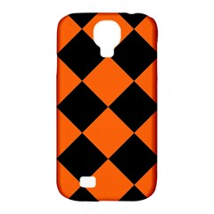 Harlequin Diamond Orange Black Samsung Galaxy S4 Classic Hardshell Case (pc+silicone) by CrypticFragmentsColors
