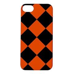 Harlequin Diamond Orange Black Apple Iphone 5s Hardshell Case by CrypticFragmentsColors