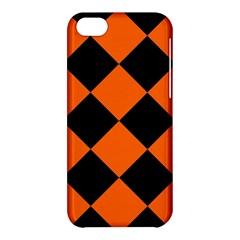 Harlequin Diamond Orange Black Apple Iphone 5c Hardshell Case by CrypticFragmentsColors