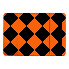 Harlequin Diamond Orange Black Samsung Galaxy Tab Pro 10 1  Flip Case by CrypticFragmentsColors