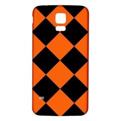 Harlequin Diamond Orange Black Samsung Galaxy S5 Back Case (white) by CrypticFragmentsColors