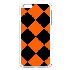 Harlequin Diamond Orange Black Apple Iphone 6 Plus Enamel White Case