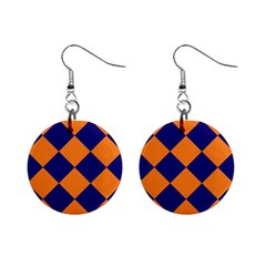 Harlequin Diamond Navy Blue Orange Mini Button Earrings by CrypticFragmentsColors