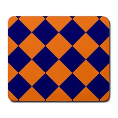 Harlequin Diamond Navy Blue Orange Large Mouse Pad (rectangle) by CrypticFragmentsColors