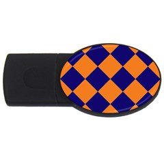 Harlequin Diamond Navy Blue Orange 2gb Usb Flash Drive (oval) by CrypticFragmentsColors