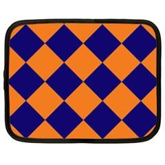 Harlequin Diamond Navy Blue Orange Netbook Sleeve (xxl) by CrypticFragmentsColors