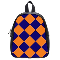 Harlequin Diamond Navy Blue Orange School Bag (small) by CrypticFragmentsColors