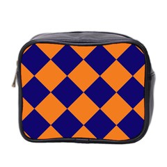 Harlequin Diamond Navy Blue Orange Mini Travel Toiletry Bag (two Sides) by CrypticFragmentsColors