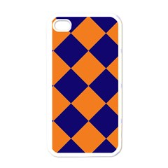 Harlequin Diamond Navy Blue Orange Apple Iphone 4 Case (white) by CrypticFragmentsColors