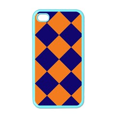 Harlequin Diamond Navy Blue Orange Apple Iphone 4 Case (color) by CrypticFragmentsColors