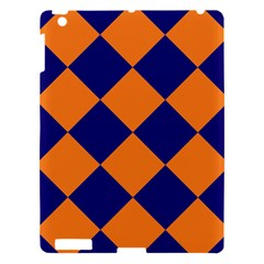 Harlequin Diamond Navy Blue Orange Apple Ipad 3/4 Hardshell Case by CrypticFragmentsColors