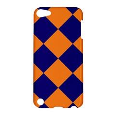 Harlequin Diamond Navy Blue Orange Apple Ipod Touch 5 Hardshell Case by CrypticFragmentsColors