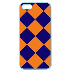 Harlequin Diamond Navy Blue Orange Apple Seamless Iphone 5 Case (color) by CrypticFragmentsColors