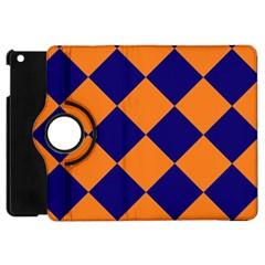 Harlequin Diamond Navy Blue Orange Apple Ipad Mini Flip 360 Case by CrypticFragmentsColors