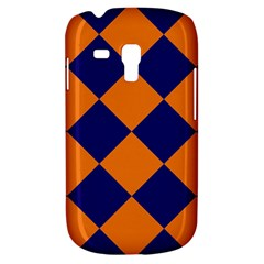 Harlequin Diamond Navy Blue Orange Samsung Galaxy S3 Mini I8190 Hardshell Case by CrypticFragmentsColors