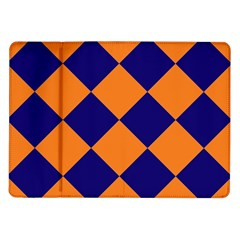 Harlequin Diamond Navy Blue Orange Samsung Galaxy Tab 10 1  P7500 Flip Case by CrypticFragmentsColors
