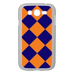 Harlequin Diamond Navy Blue Orange Samsung Galaxy Grand Duos I9082 Case (white) by CrypticFragmentsColors