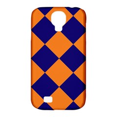 Harlequin Diamond Navy Blue Orange Samsung Galaxy S4 Classic Hardshell Case (pc+silicone) by CrypticFragmentsColors
