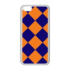 Harlequin Diamond Navy Blue Orange Apple Iphone 5c Seamless Case (white) by CrypticFragmentsColors