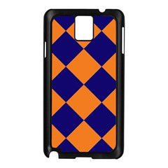 Harlequin Diamond Navy Blue Orange Samsung Galaxy Note 3 N9005 Case (black) by CrypticFragmentsColors