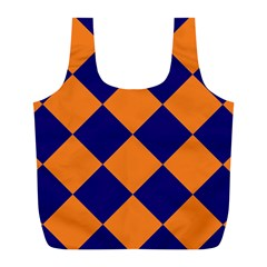 Harlequin Diamond Navy Blue Orange Reusable Bag (l) by CrypticFragmentsColors