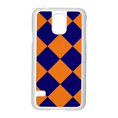 Harlequin Diamond Navy Blue Orange Samsung Galaxy S5 Case (white) by CrypticFragmentsColors