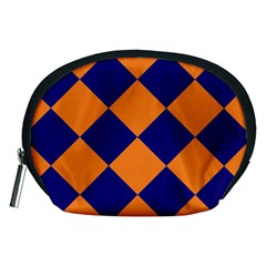 Harlequin Diamond Navy Blue Orange Accessory Pouch (medium) by CrypticFragmentsColors