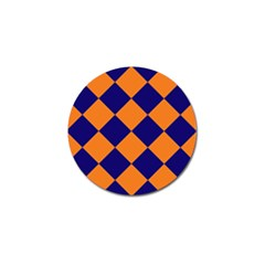 Harlequin Diamond Navy Blue Orange Golf Ball Marker 10 Pack by CrypticFragmentsColors