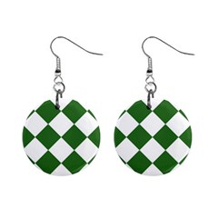 Harlequin Diamond Green White Mini Button Earrings by CrypticFragmentsColors