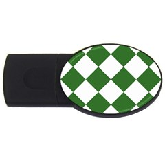 Harlequin Diamond Green White 2GB USB Flash Drive (Oval) by CrypticFragmentsColors