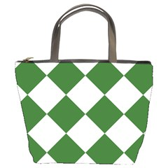 Harlequin Diamond Green White Bucket Handbag by CrypticFragmentsColors