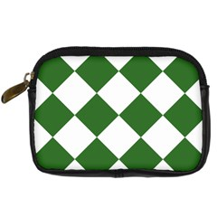 Harlequin Diamond Green White Digital Camera Leather Case by CrypticFragmentsColors