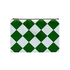 Harlequin Diamond Green White Cosmetic Bag (medium) by CrypticFragmentsColors