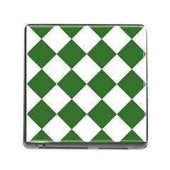 Harlequin Diamond Green White Memory Card Reader With Storage (square) by CrypticFragmentsColors