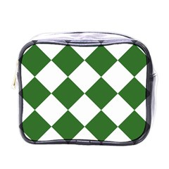 Harlequin Diamond Green White Mini Travel Toiletry Bag (one Side) by CrypticFragmentsColors