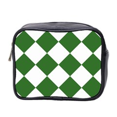 Harlequin Diamond Green White Mini Travel Toiletry Bag (two Sides)