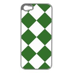 Harlequin Diamond Green White Apple Iphone 5 Case (silver) by CrypticFragmentsColors