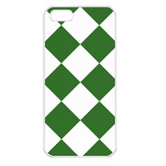 Harlequin Diamond Green White Apple Iphone 5 Seamless Case (white) by CrypticFragmentsColors