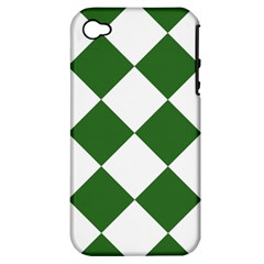Harlequin Diamond Green White Apple Iphone 4/4s Hardshell Case (pc+silicone) by CrypticFragmentsColors