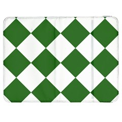 Harlequin Diamond Green White Samsung Galaxy Tab 7  P1000 Flip Case by CrypticFragmentsColors