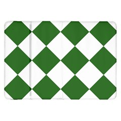 Harlequin Diamond Green White Samsung Galaxy Tab 8 9  P7300 Flip Case by CrypticFragmentsColors
