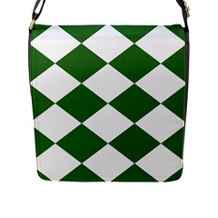 Harlequin Diamond Green White Flap Closure Messenger Bag (large) by CrypticFragmentsColors