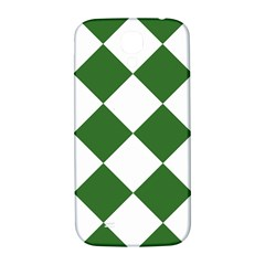 Harlequin Diamond Green White Samsung Galaxy S4 I9500/i9505  Hardshell Back Case by CrypticFragmentsColors