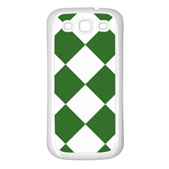 Harlequin Diamond Green White Samsung Galaxy S3 Back Case (white) by CrypticFragmentsColors