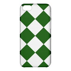 Harlequin Diamond Green White Apple Iphone 5c Hardshell Case by CrypticFragmentsColors
